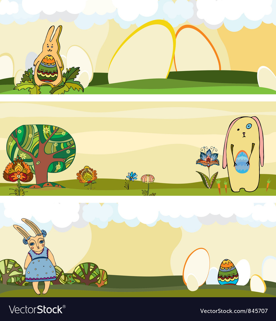Easter rabbit banner set vector