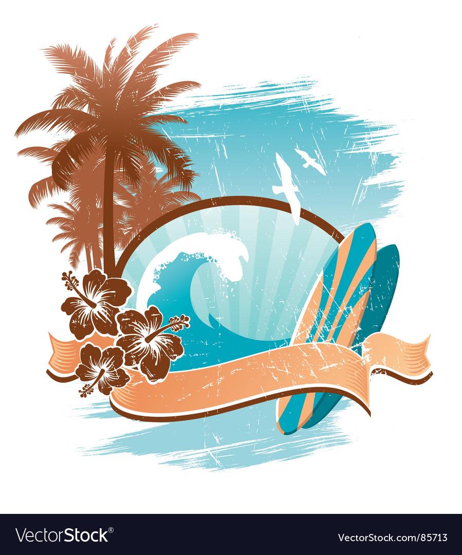 Vintage surfing emblem vector