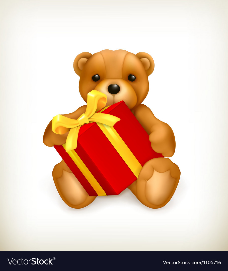 Teddy bear with gift vector
