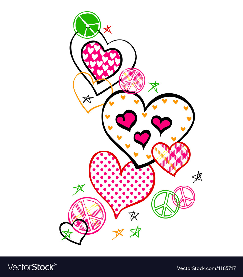 Heart and peace logo vector