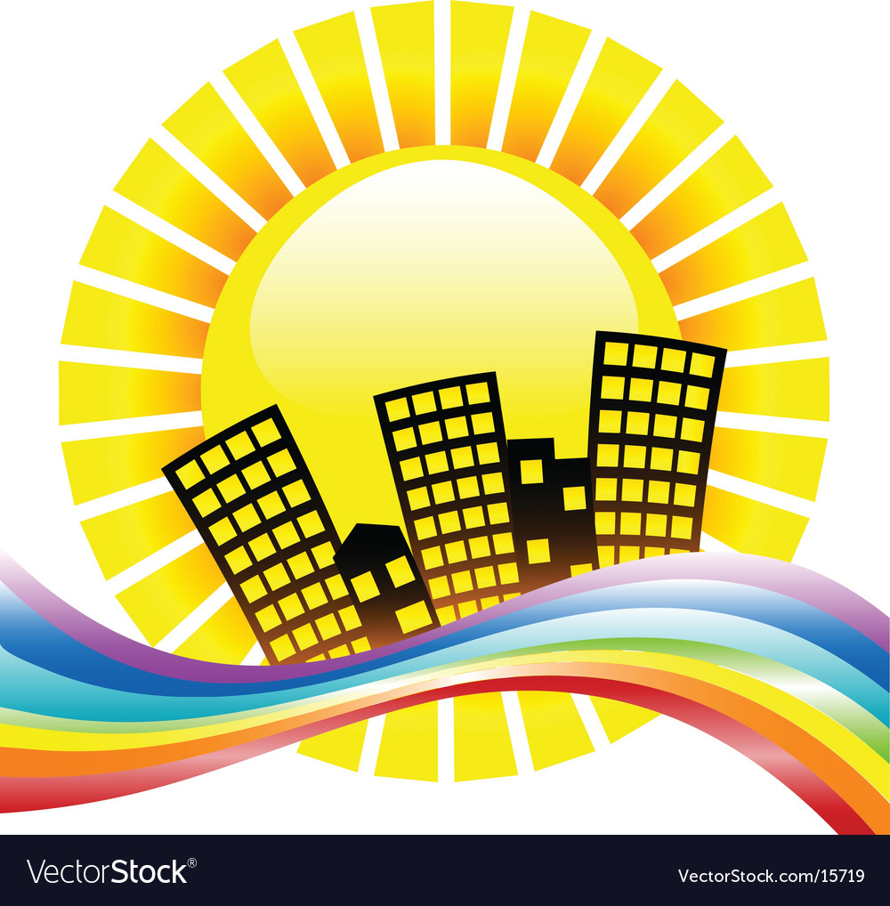 Rainbow cityscape vector