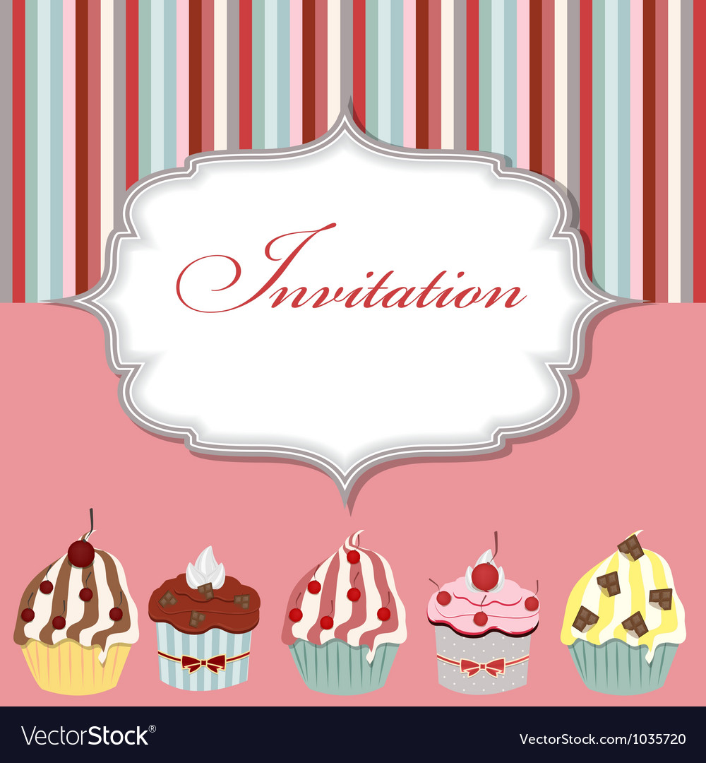 Cupcake invitation card vector