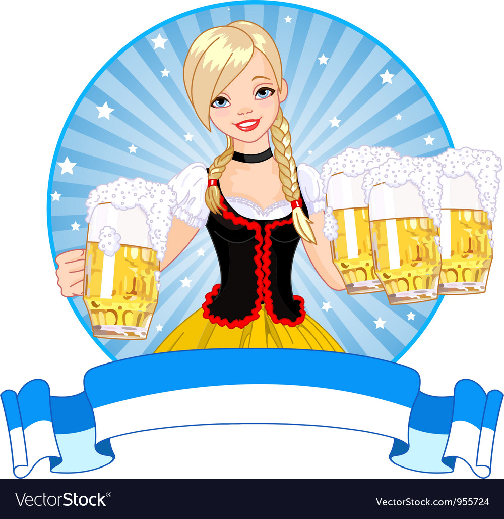 Oktoberfest girl label vector