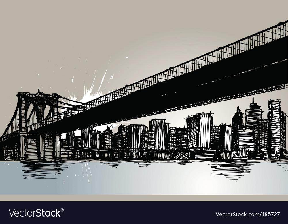 Bridge and city vector