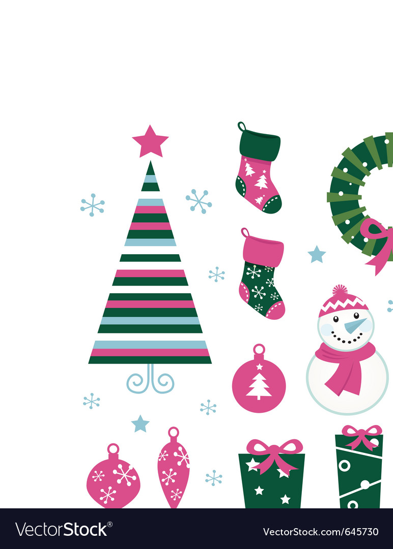 Christmas cartoon icons vector