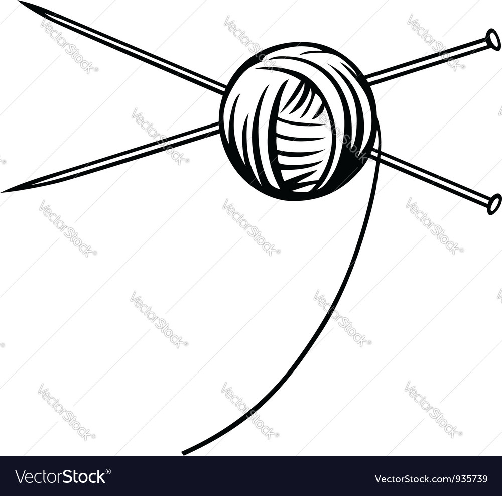 Yarn ball with needles vector