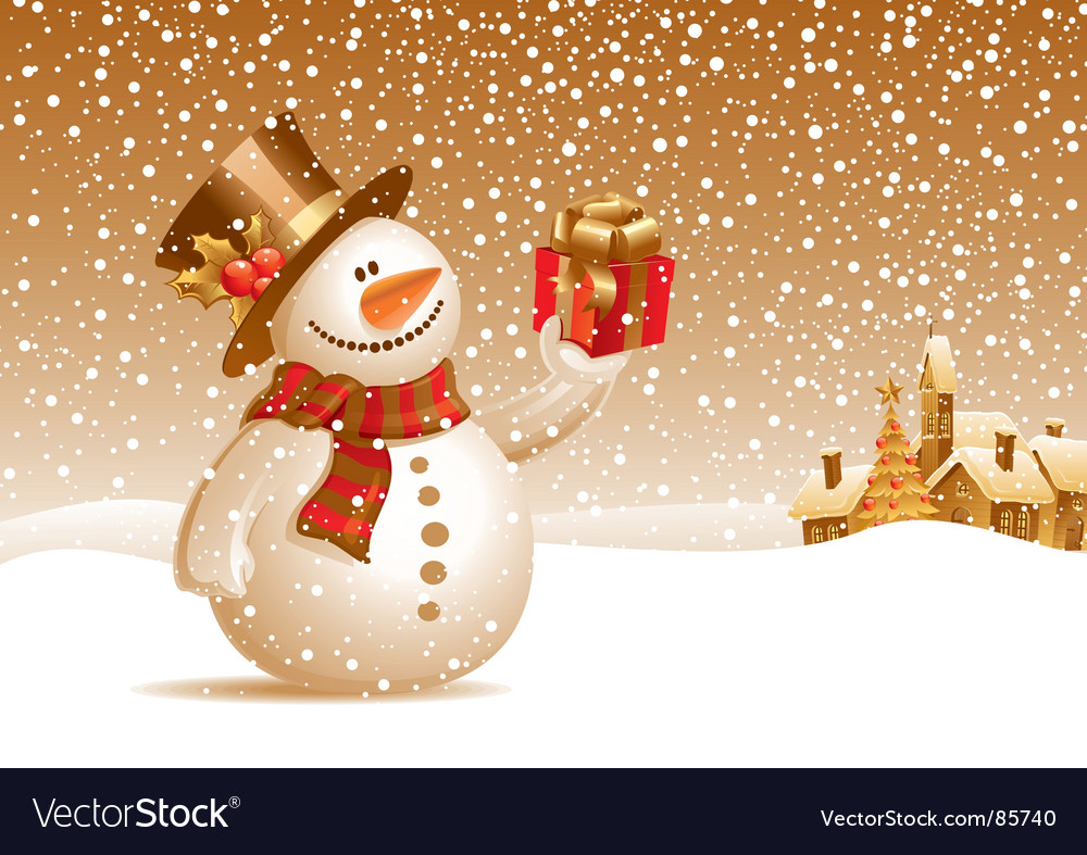 Snowman with gift for you vector