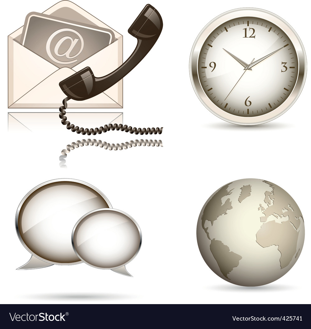 Business website icon set vector