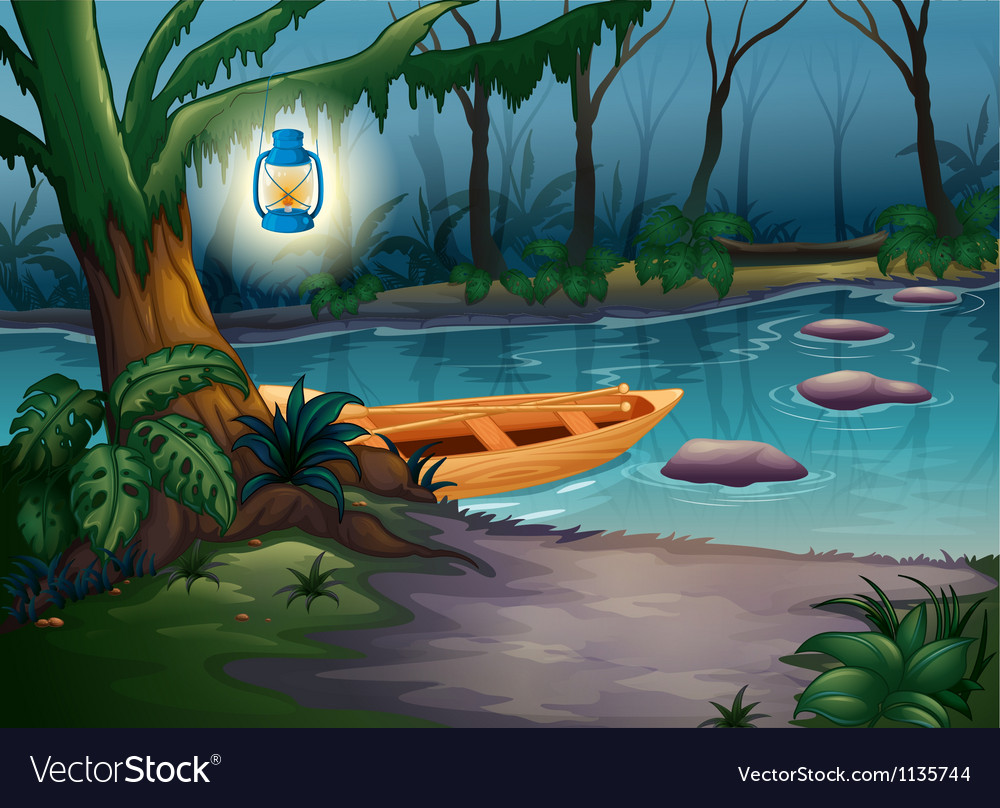 A canoe in a mysterious forest vector