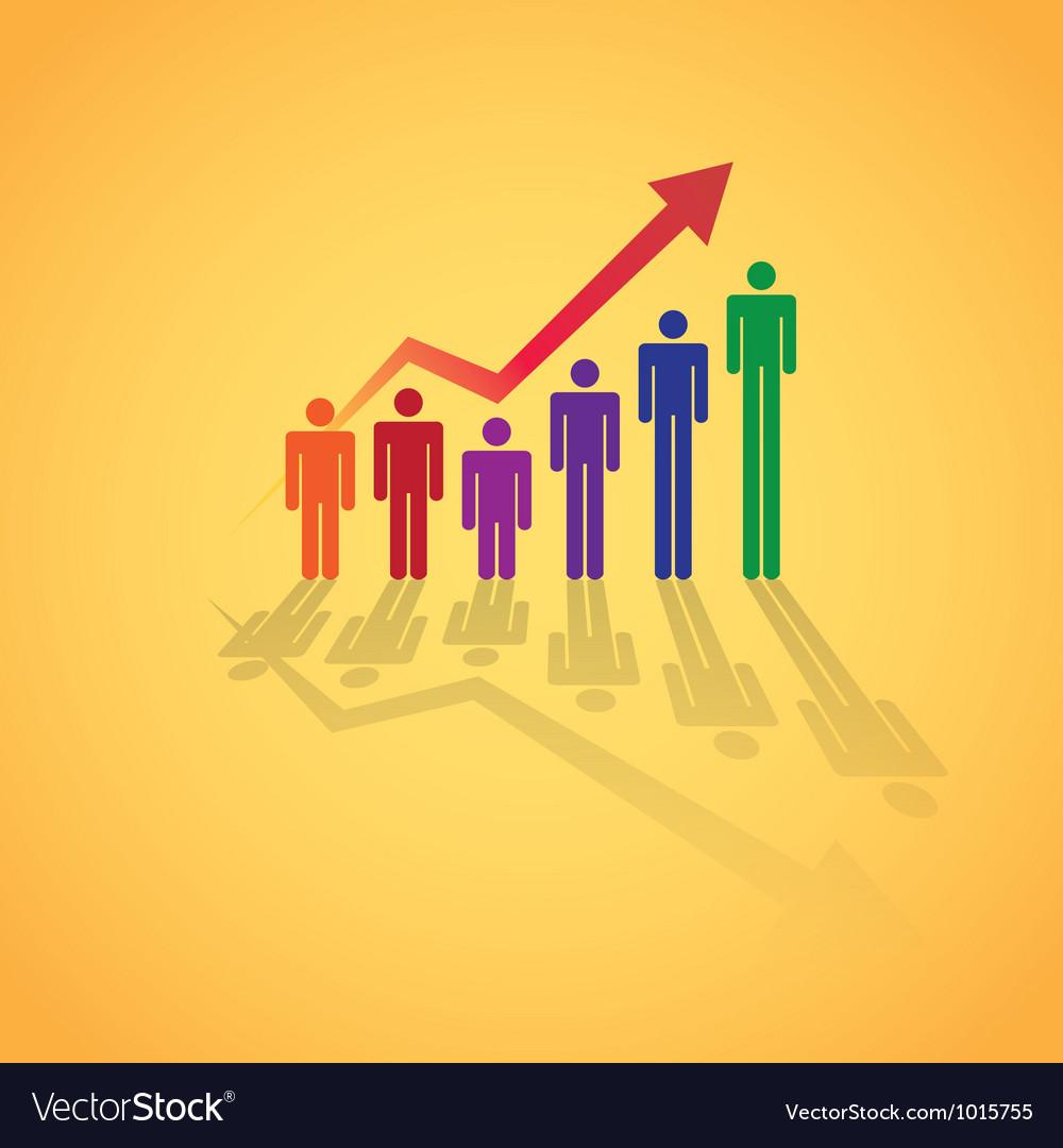 Rising figure graph vector