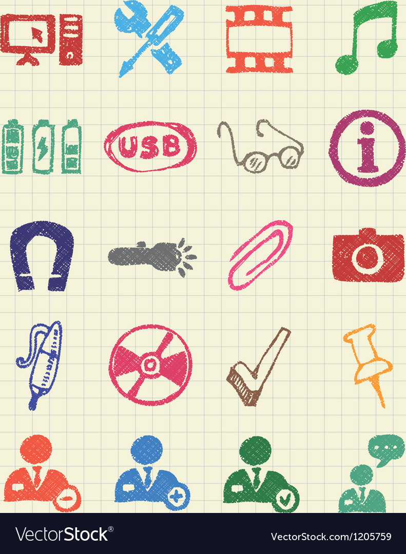Media and business icons set vector