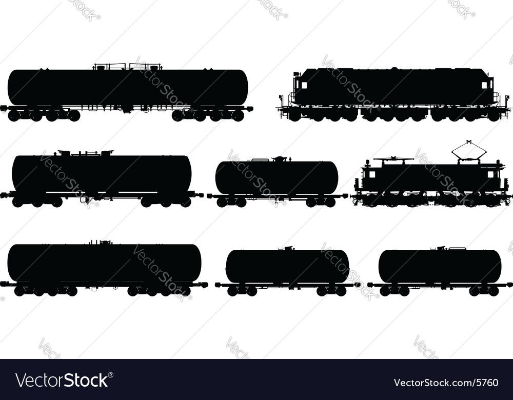 Railway silhouettes set vector