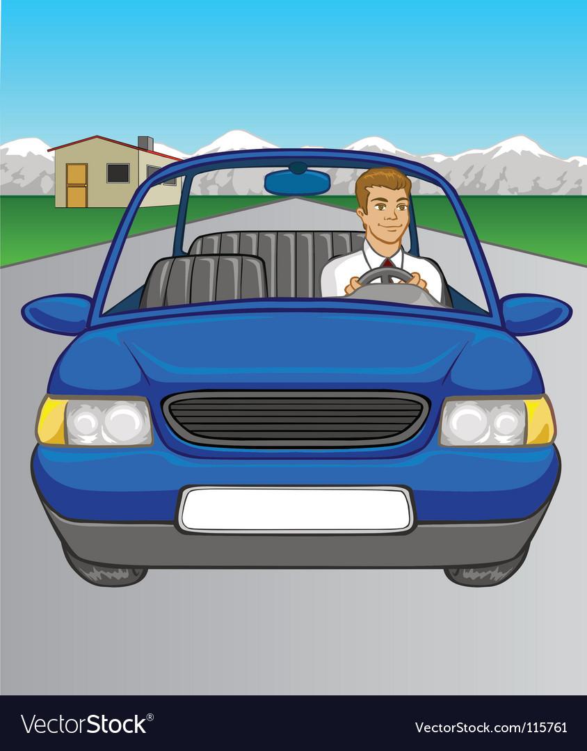 Man driving car vector