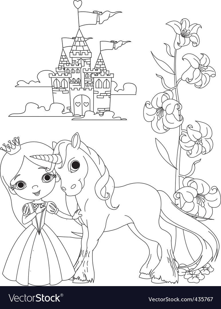 Princess and unicorn vector
