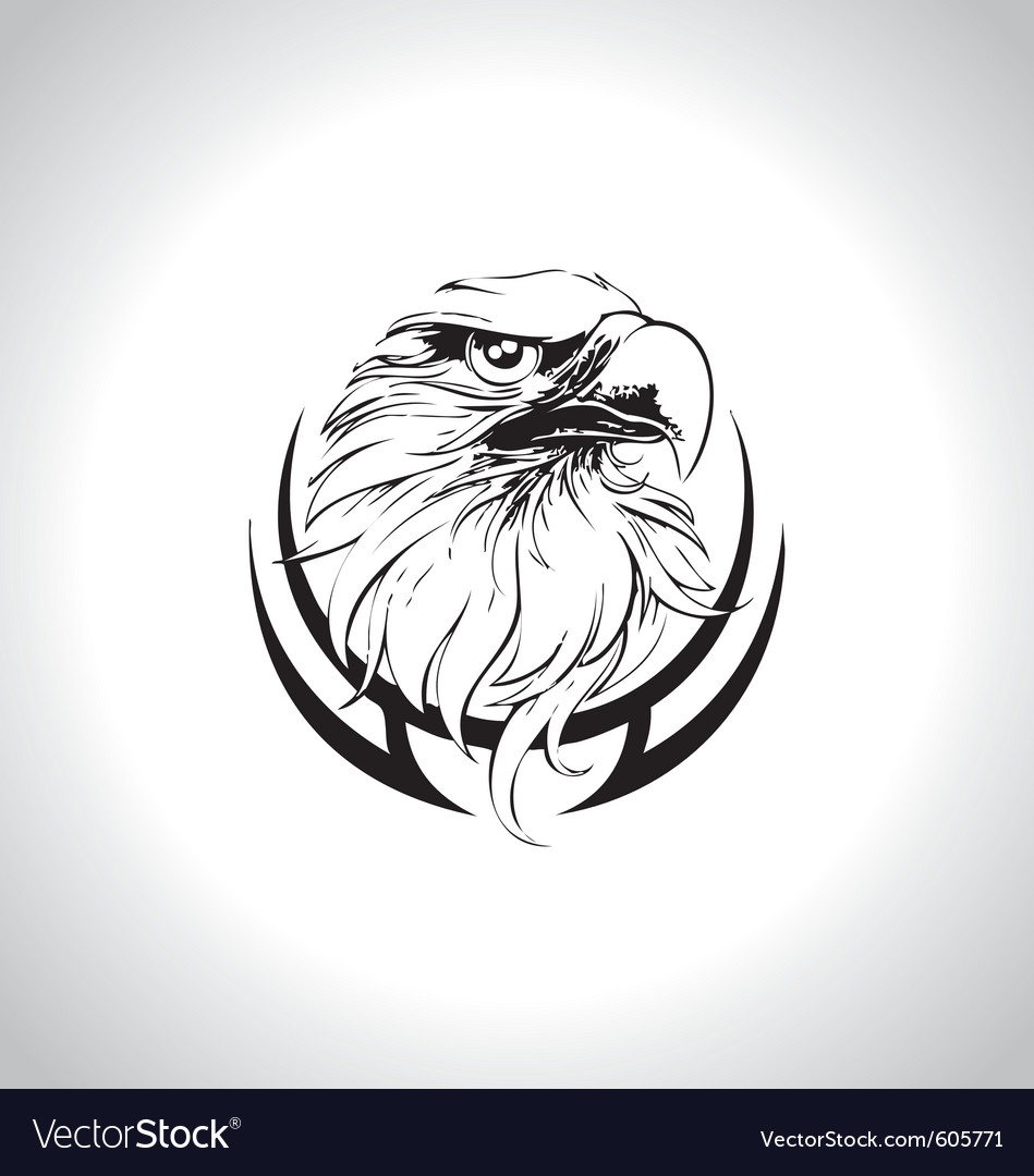 Eagle head line art vector