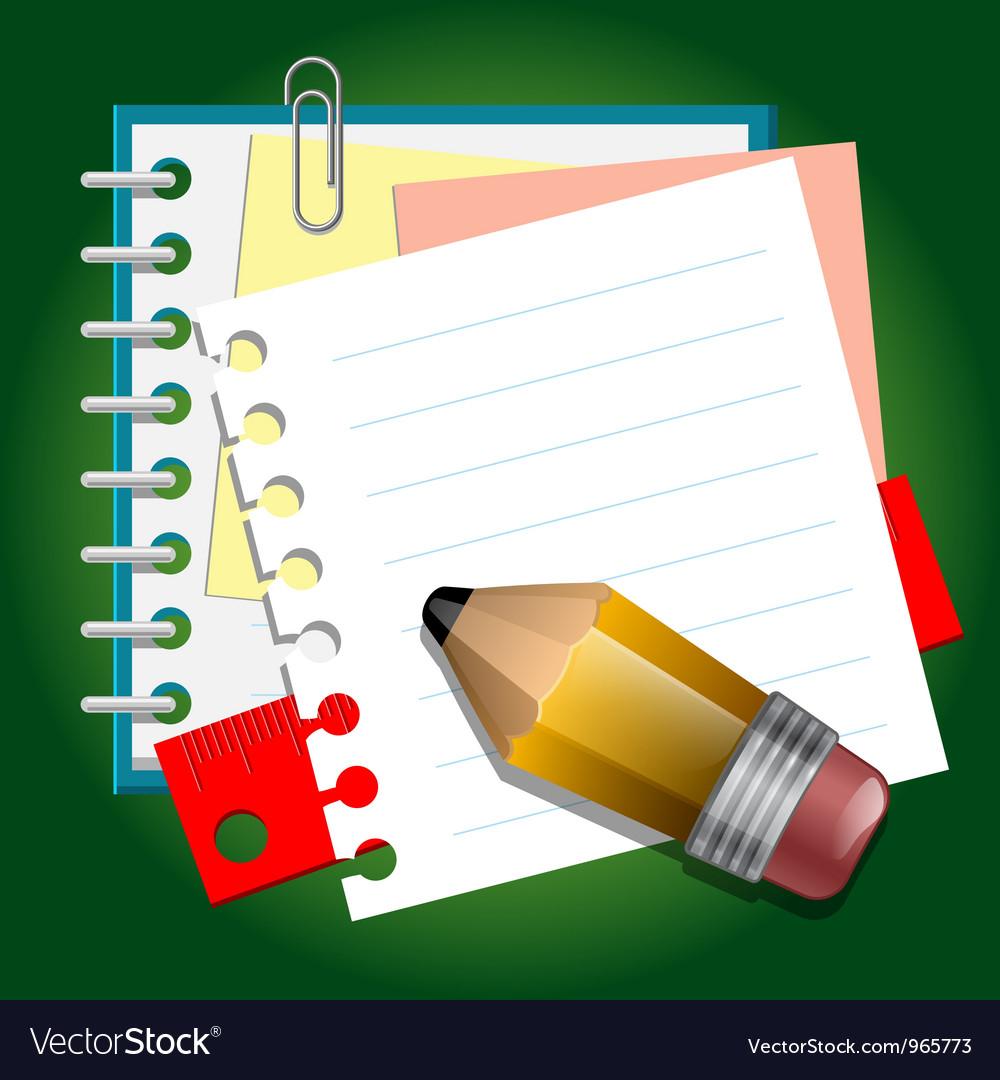 School paper notes vector