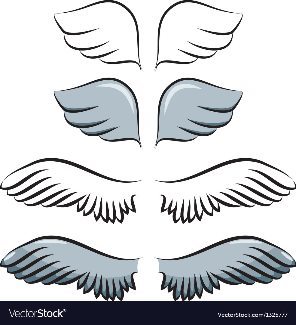 Set of cartoon wings vector
