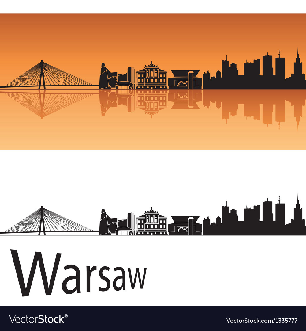 Warsaw skyline in orange background vector