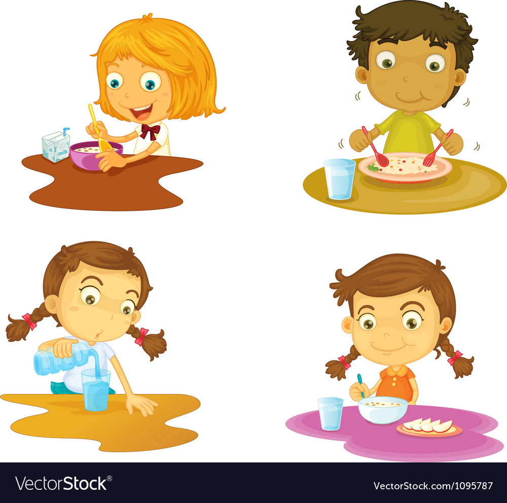 Four kids having food vector