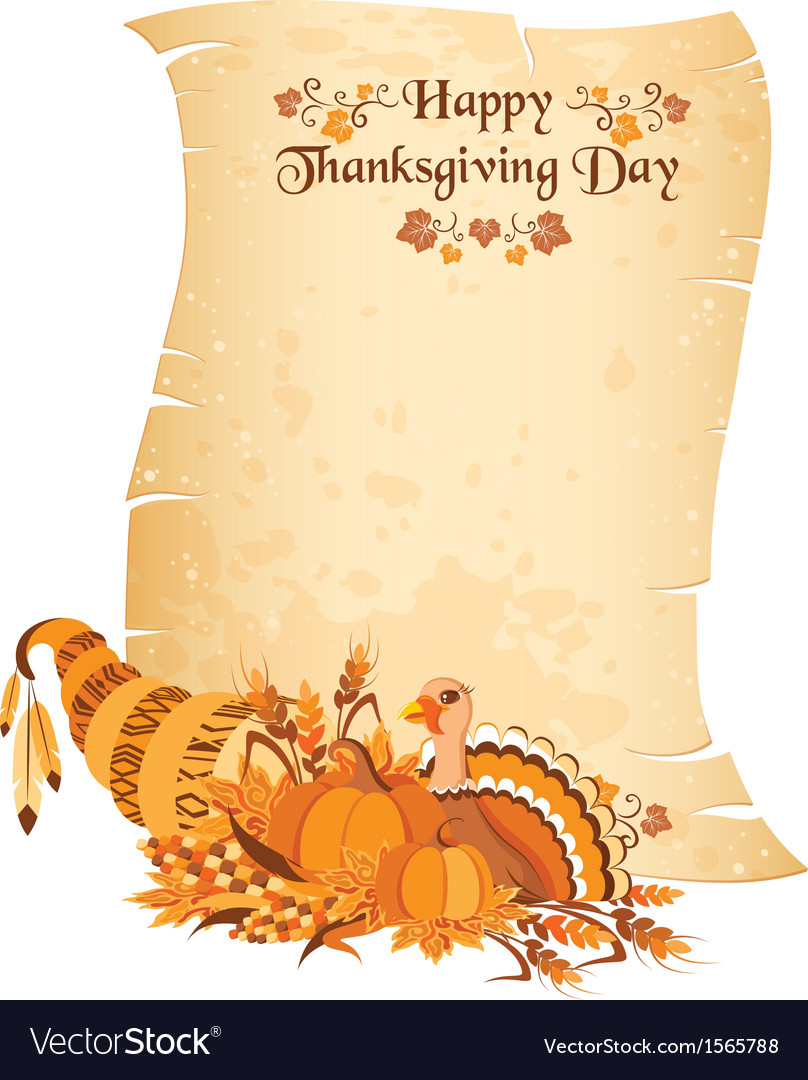 Thanksgiving day scroll with cornucopia vector