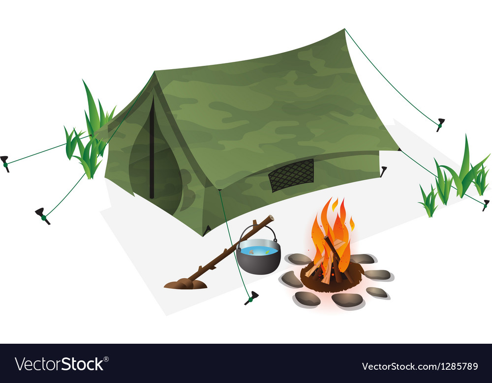 Tent and campfire vector