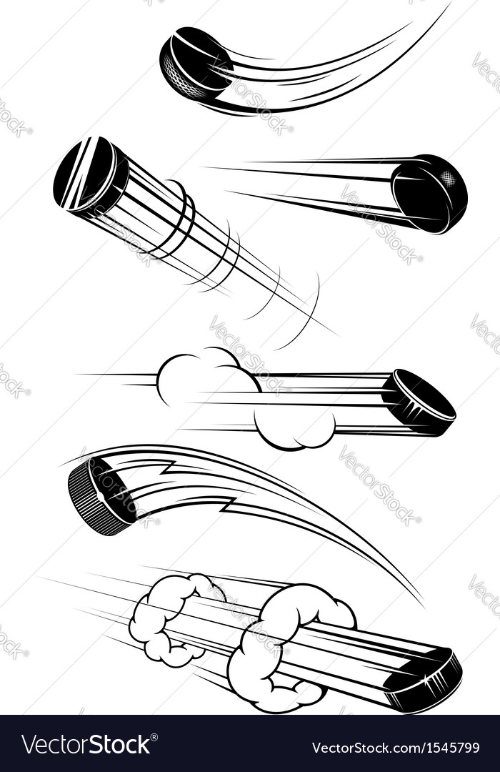 Flying hockey pucks vector