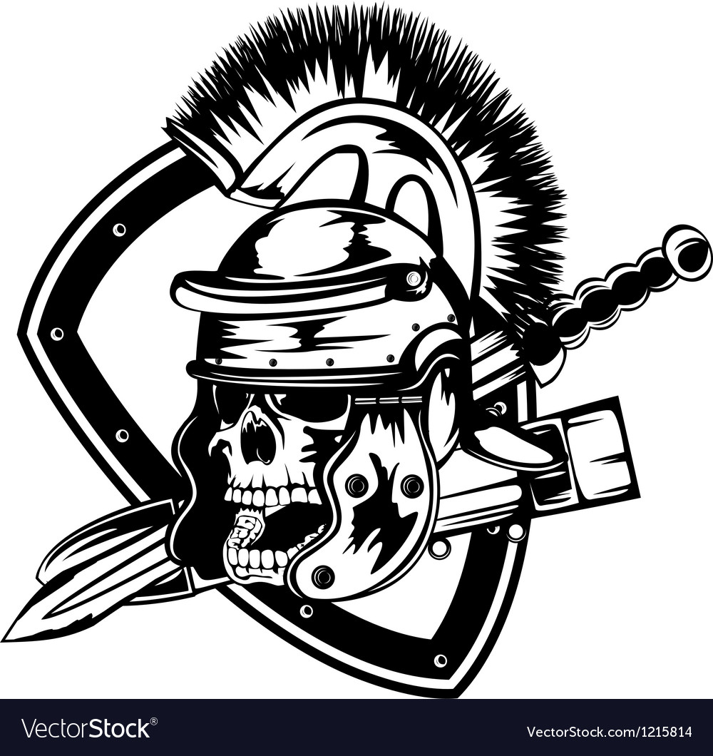 Skull in legionary helmet vector