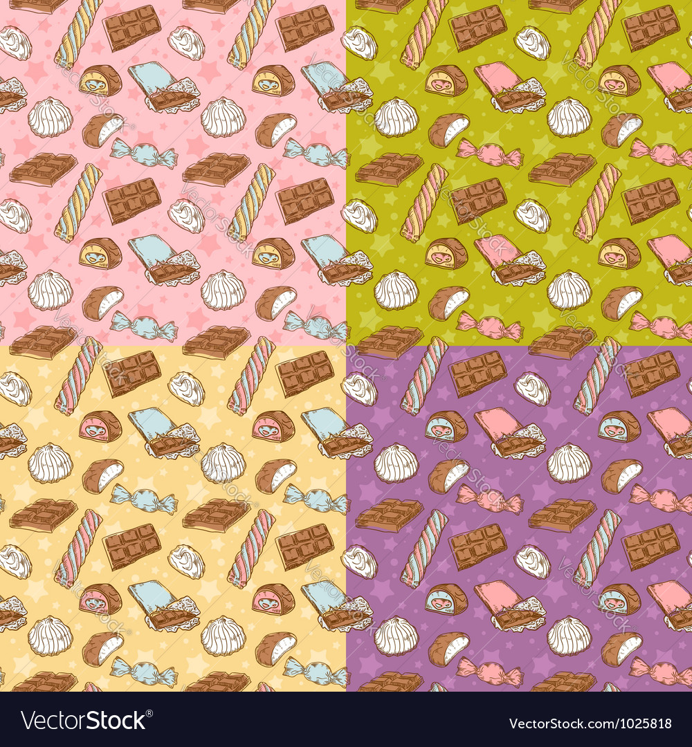 Vintage seamless texture with sweets vector