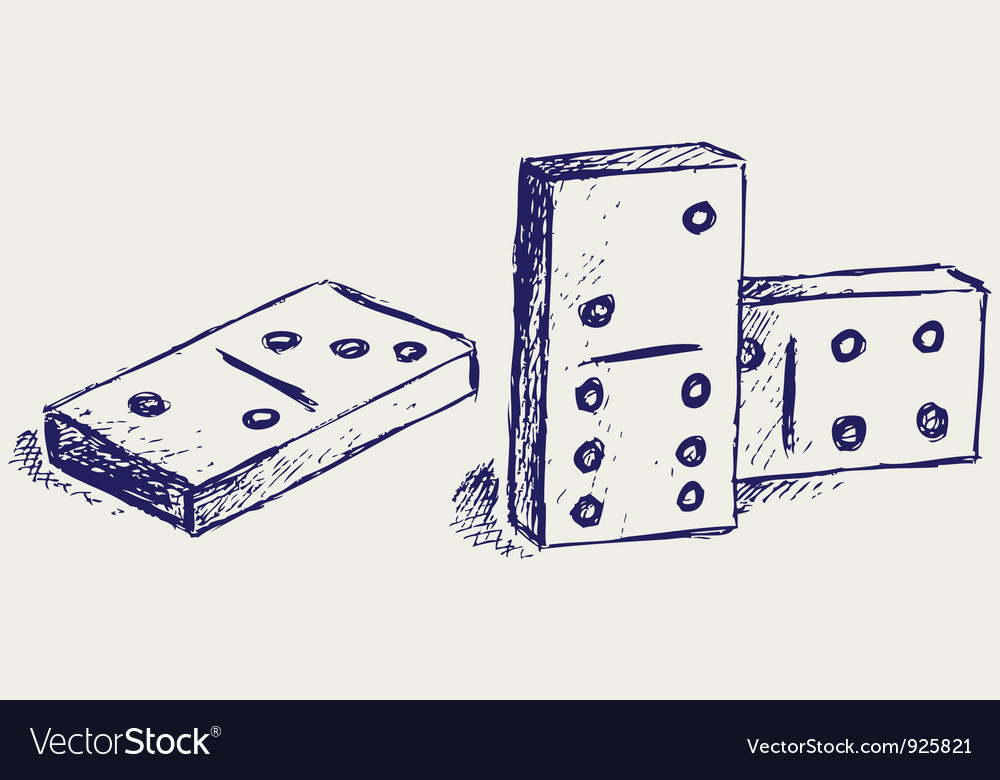 Sketch dominoes vector