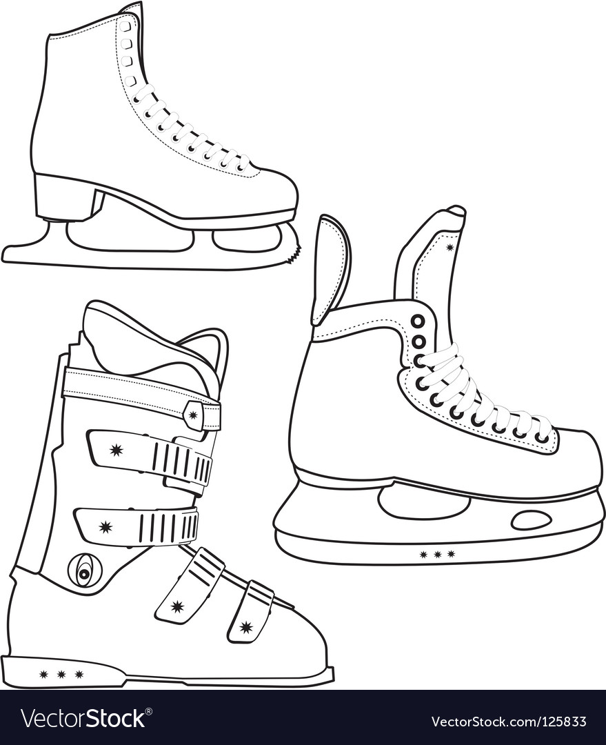 Sports boots outline vector