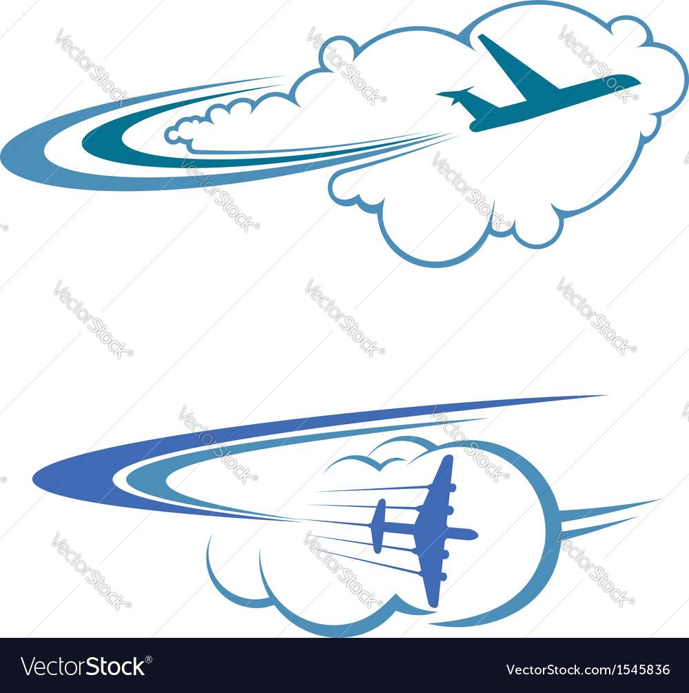 Flying airplanes in sky vector