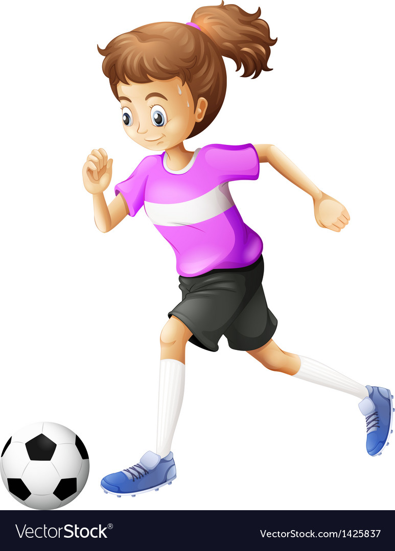 A lady playing soccer vector