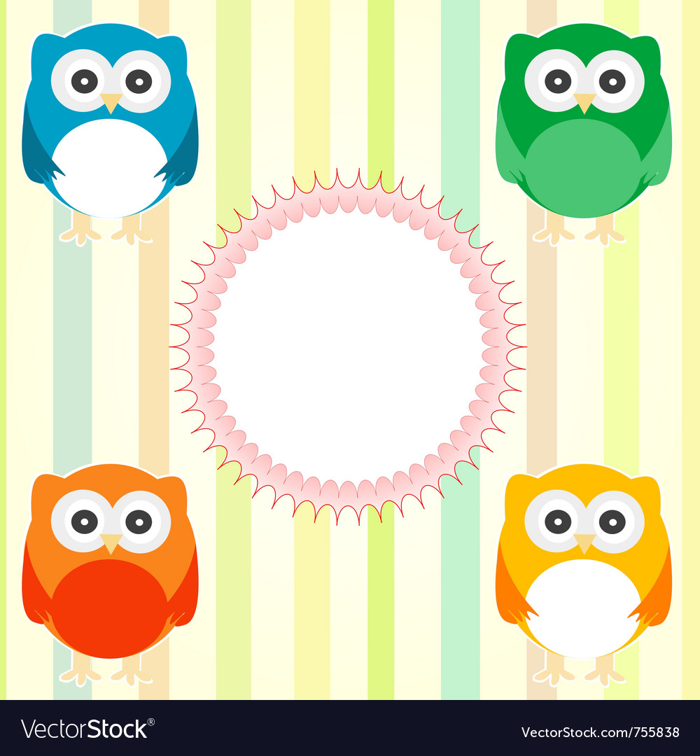 Cute owl card vector