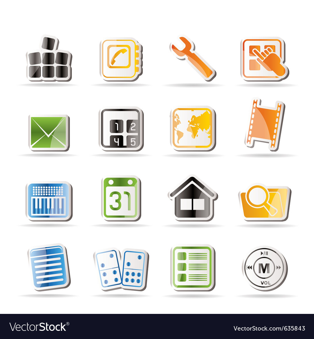 Simple mobile phone and computer icon vector