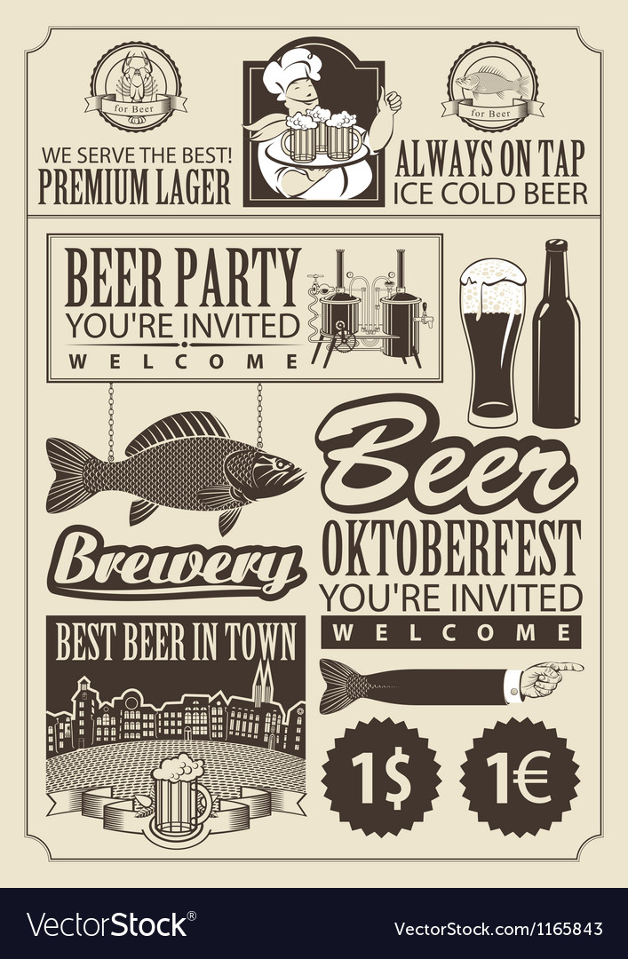 Subject of beer vector