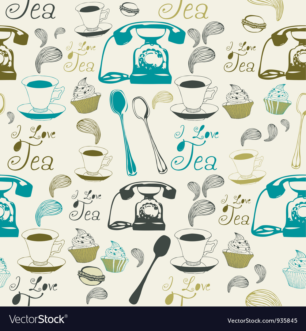 Vintage afternoon tea pattern vector