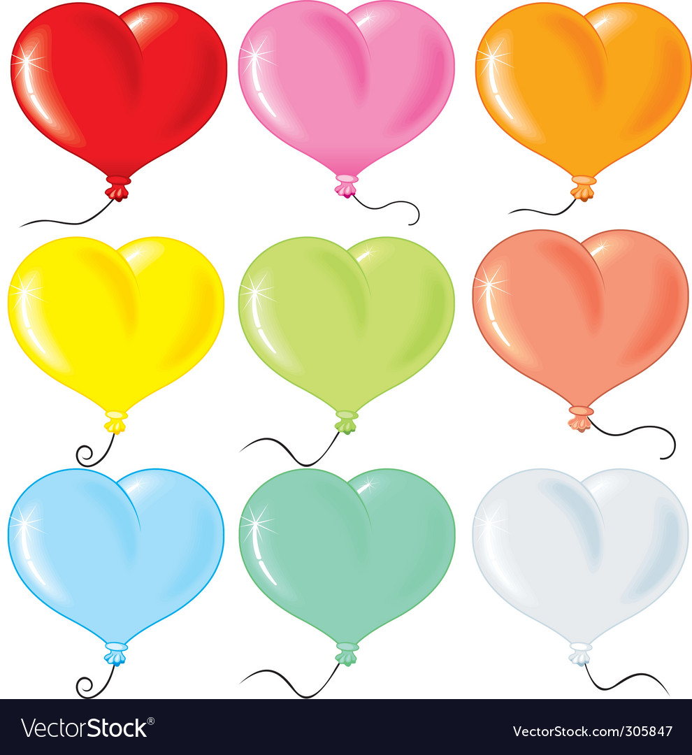 Heart shaped balloons vector art - Download S vectors - 305847