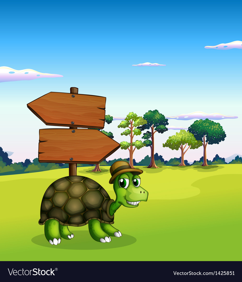 A turtle near the empty wooden arrow signboards vector