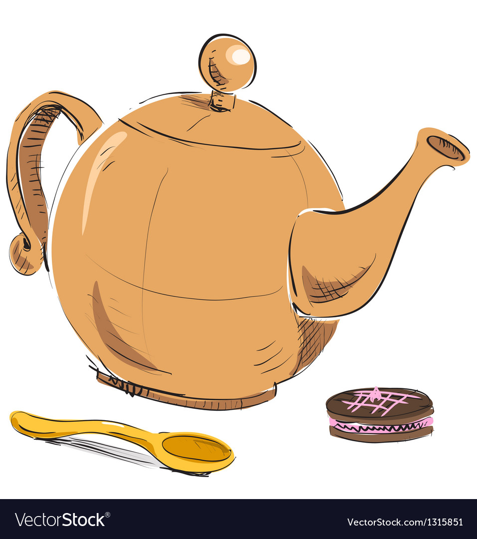 Kettle spoon and biscuit vector