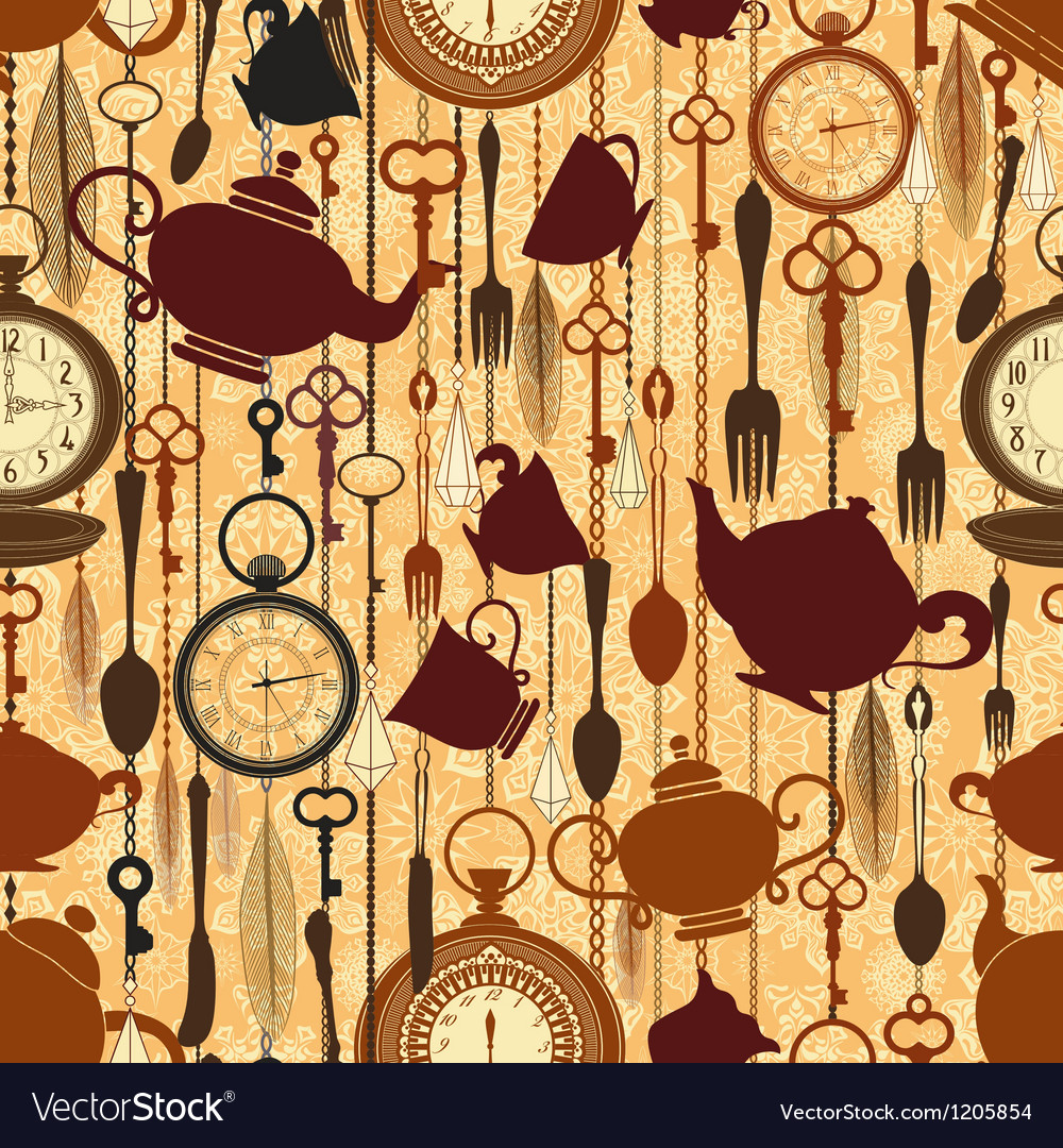 Vintage seamless tea time pattern vector