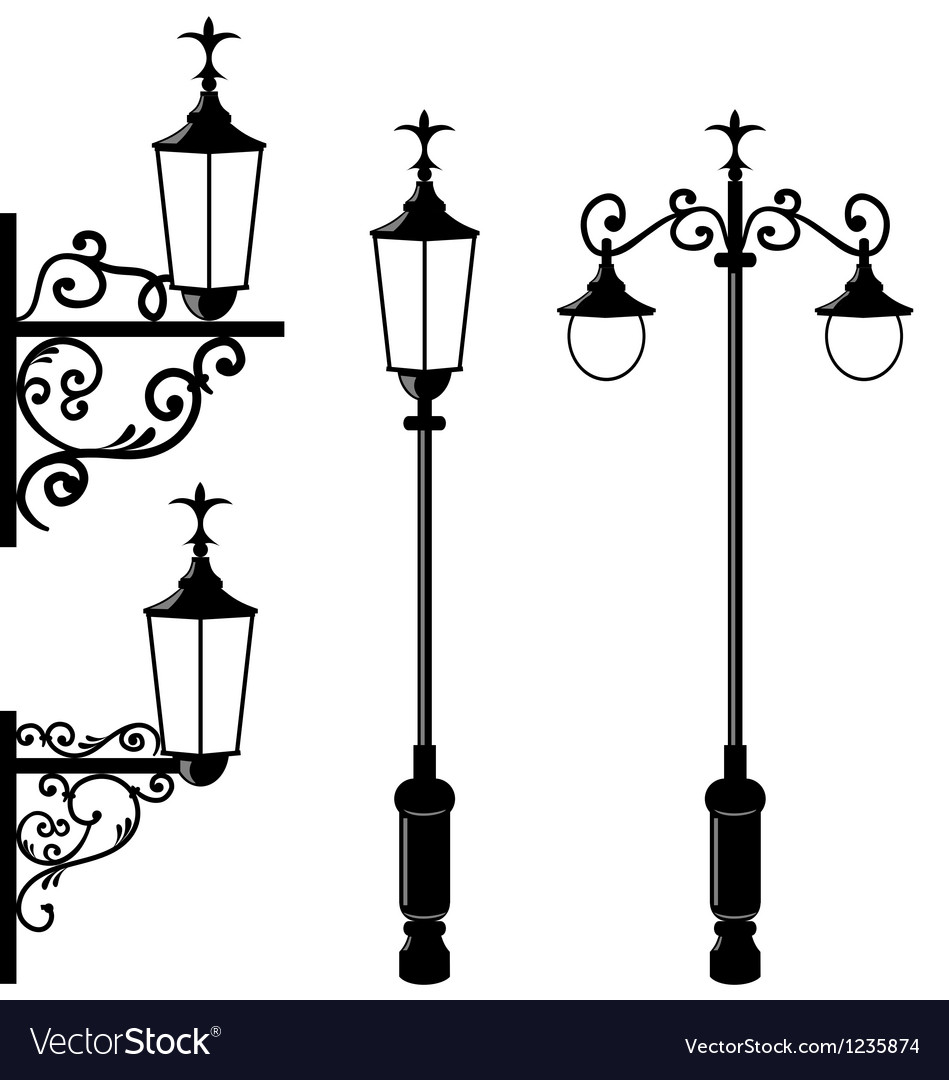 Set of vintage various streetlamp vector