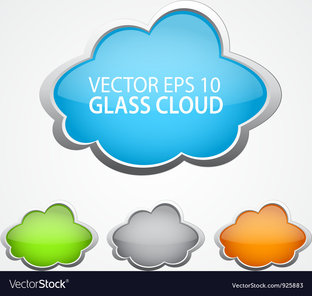 Set of 4 glossy clouds for text vector