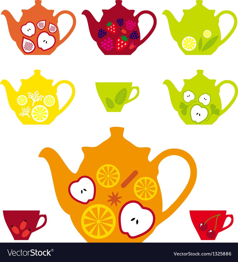 Tea pots and cups with fruits vector