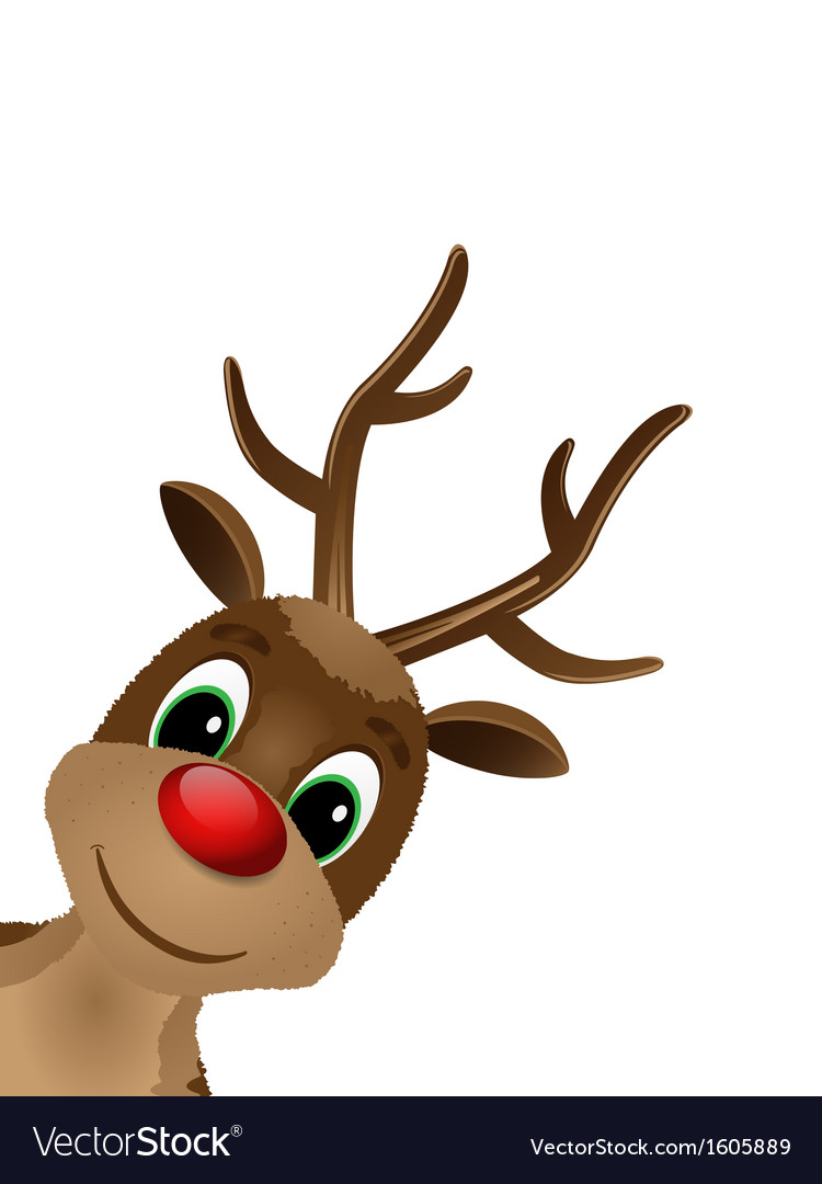 Reindeer with red nose vector
