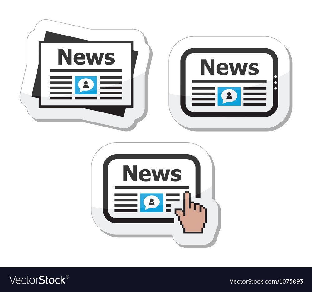 Newpaper news on tablet icons set as labels vector
