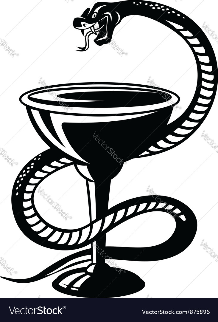Medicine symbol - snake on cup vector
