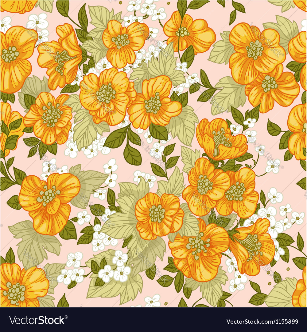 Seamless pattern of yellow wildflowers vector