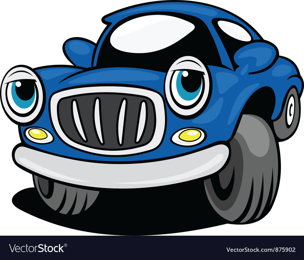 Blue funny car with eyes vector