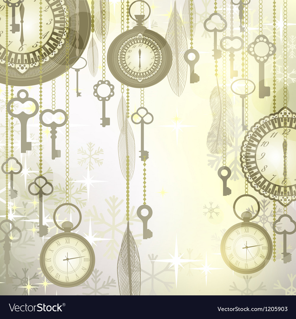 Christmas luxury background with pocket watches vector