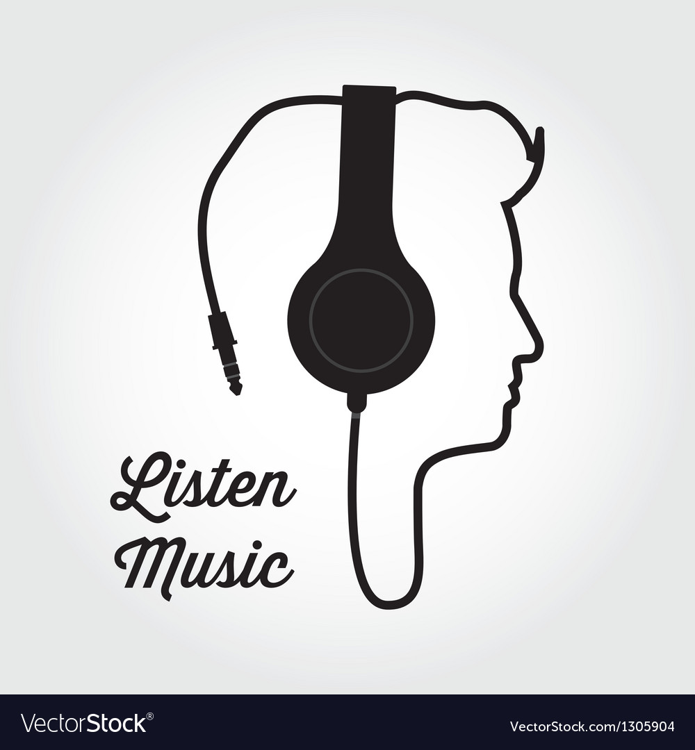Man profile silhouette with headphone music vector